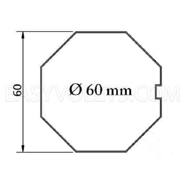 empreinte tube octogonal 60 mm Franciaflex